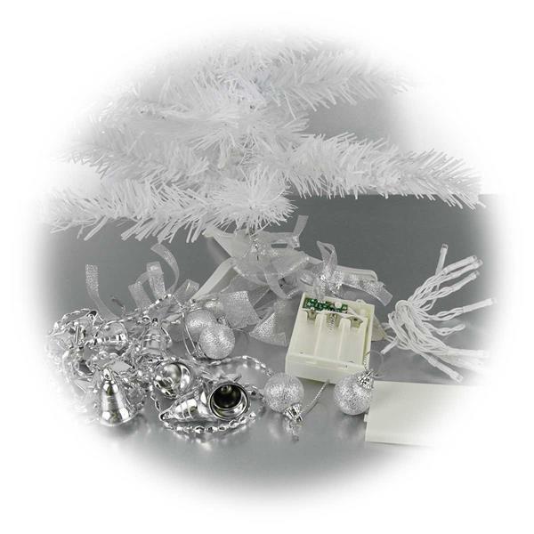 künstlicher weißer Weihnachtsbaum mit LED Lichterkette und Accessoires
