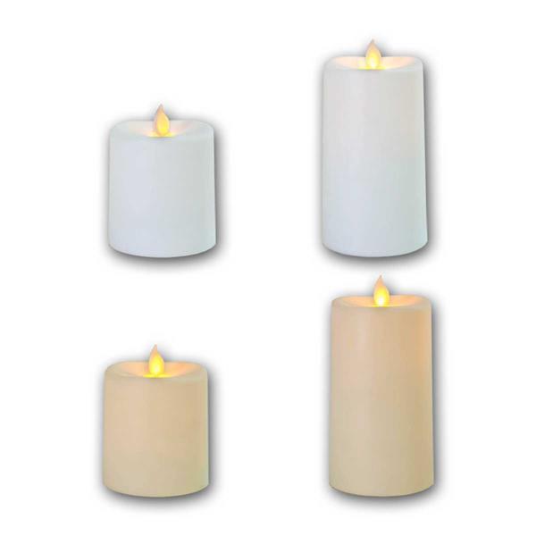 LED Dekokerze mit warmweißem Lichtschein und Kunststoffmantel