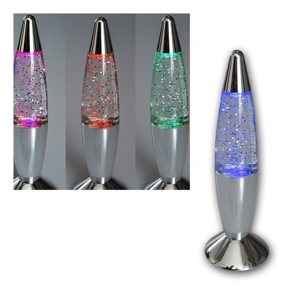 Glitterlampe Piccina, ØxH 6x19cm, Batteriebetrieb