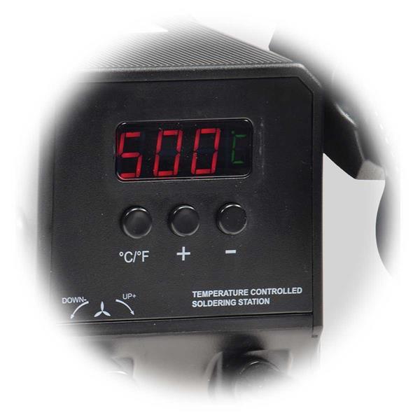 LED Anzeige zum Ablesen der Temperatur, ± Taster zum Einstellen