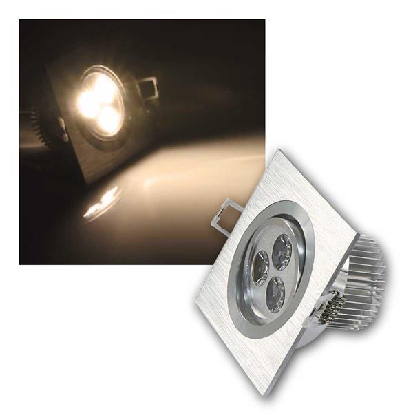 LED Einbaustrahler eckig, 3x1W, 230V, warmweiß