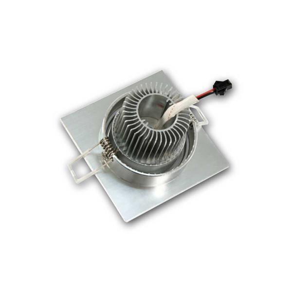 schwenkbare LED Alu-Einbauleuchte mit Kühlrippen, eckig