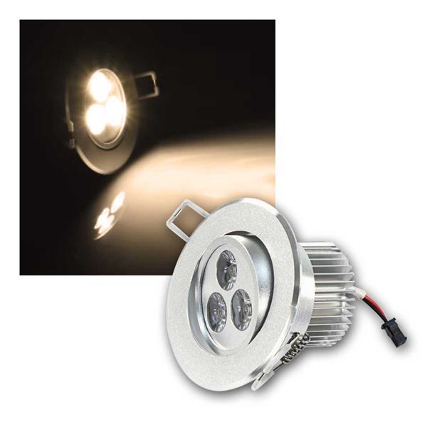 LED Einbaustrahler rund, 3x1W, 230V, warmweiß