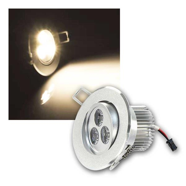 LED Einbaustrahler rund, 3x2W, 230V, warmweiß