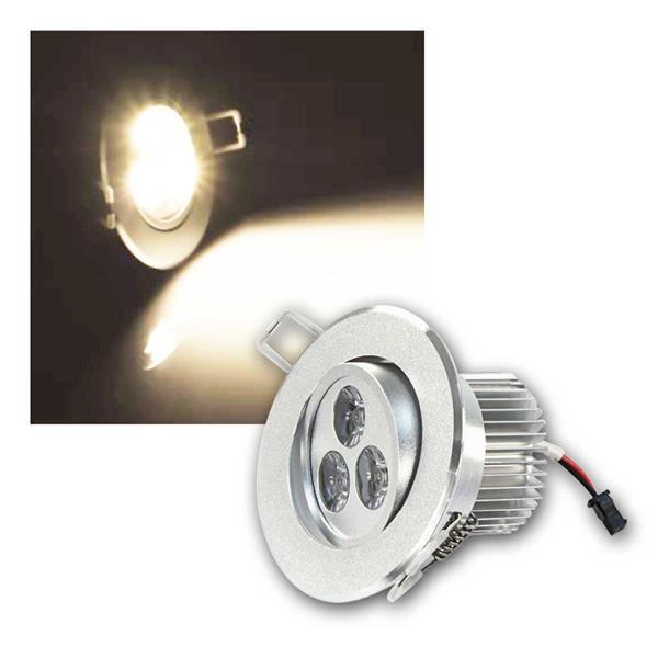 LED Einbaustrahler rund, 3x3W, 230V, warmweiß