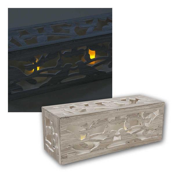 2 LED Teelichter in Holzrahmen, flackernd