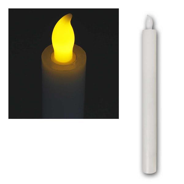LED Echtwachs Kerze, Höhe 25cm, Ø 2,5cm, Timer