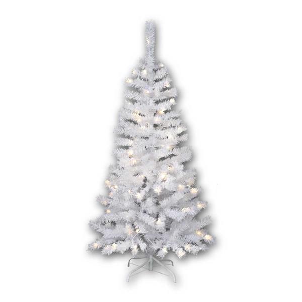 1,5m hoher weißer Weihnachtsbaum mit integrierter Beleuchtung