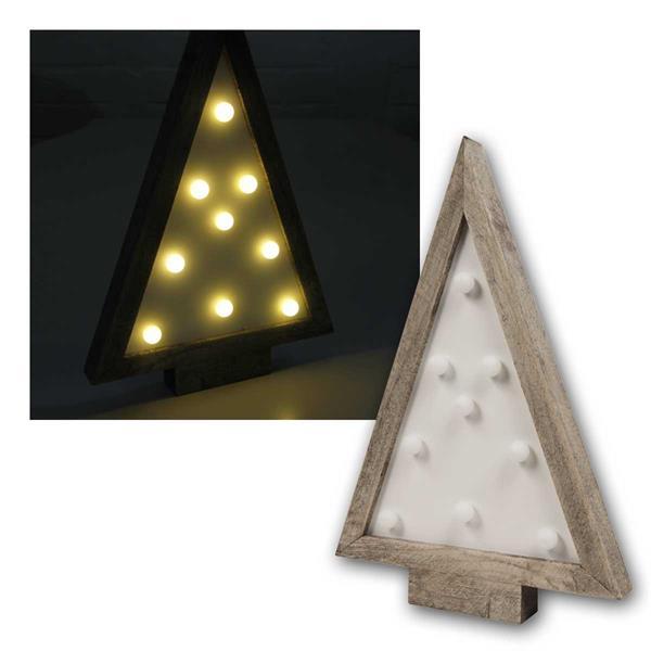 LED Dekolicht Tannenbaum mit Holzrahmen, 9 LEDs