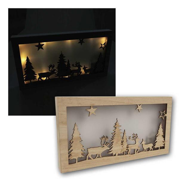 LED Dekolicht Wald, aus Holz, 10 LED, warmweiß