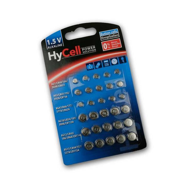 30 teiliges HyCell Knopfzellen Set