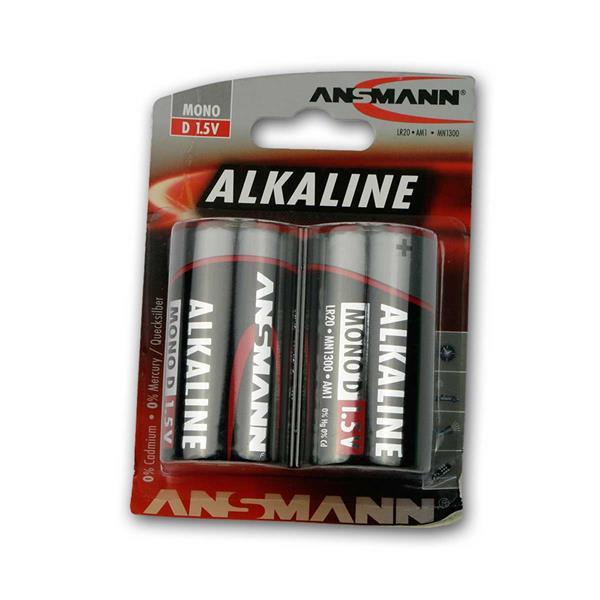 2er Pack Mono D Alkaline Batterie, Ansmann