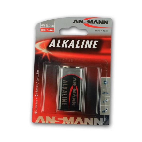 9V Block, Alkaline Batterie, Ansmann