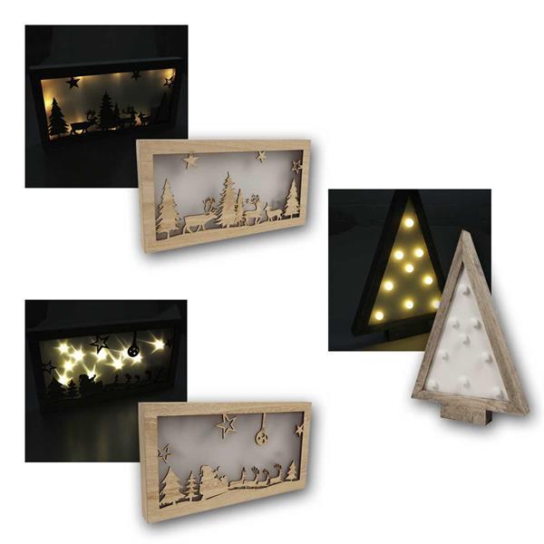 LED Dekolichter Weihnachten aus Holz, Batteriebetrieb