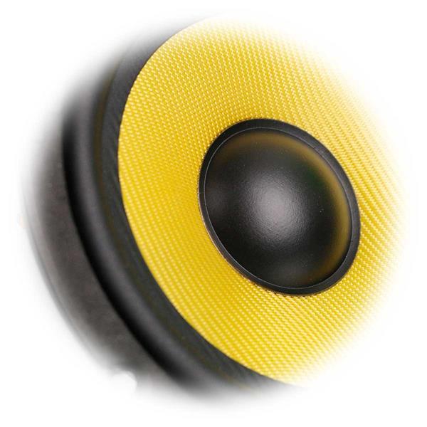 leistungsstarker Subwoofer mit einer gelben Aramid-Membrane