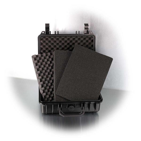 Universalkoffer mit je 2 Lagen Würfelschaum und Noppenschaumstoff