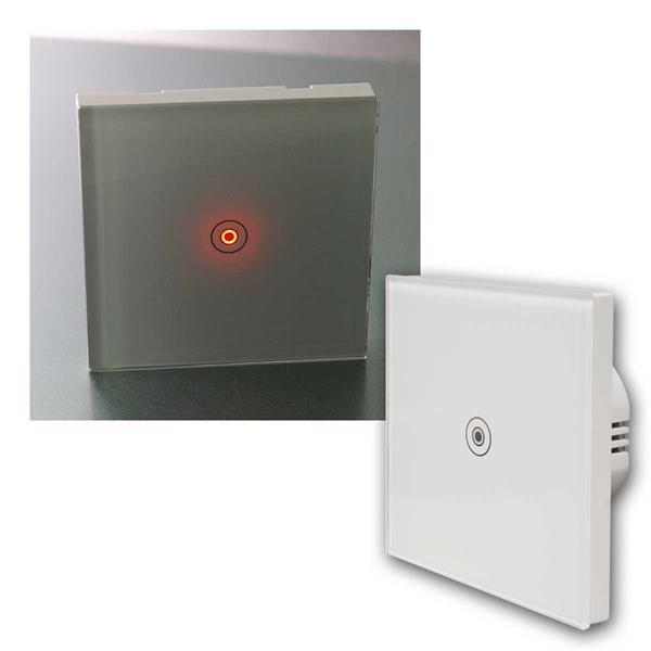 Touch Schalter FLAIR Glas mit LED, 1-fach, 1-Weg