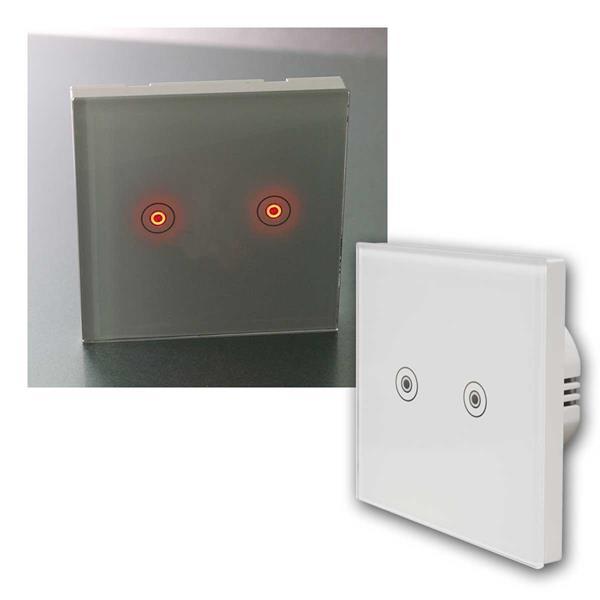 Touch Schalter FLAIR Glas mit LED, 2-fach, 1-Weg