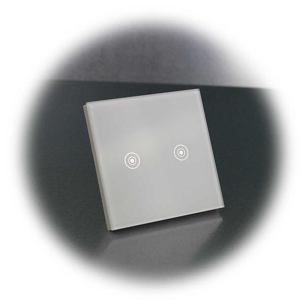 FLAIR Glasschalter mit zweifach Touchfläche und Kontroll-LED