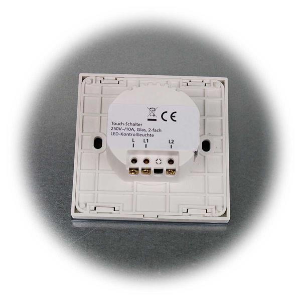 FLAIR Touchschalter mit zwei Kontroll-LEDs und edler Glasfront