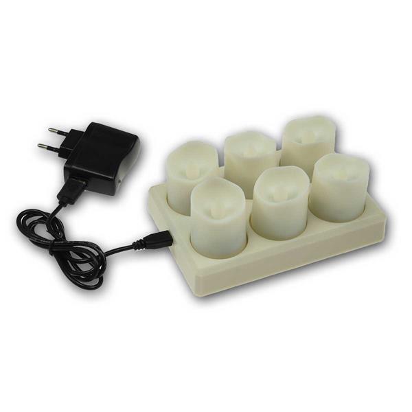 6er Set LED Kerzen mit IR-Fernbedienung und Ladestation