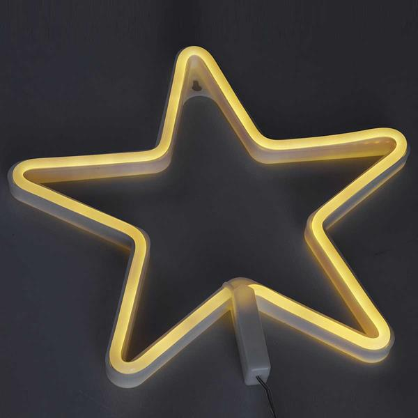 Warmweiß-leuchtende LED-Figur in Stern-Form