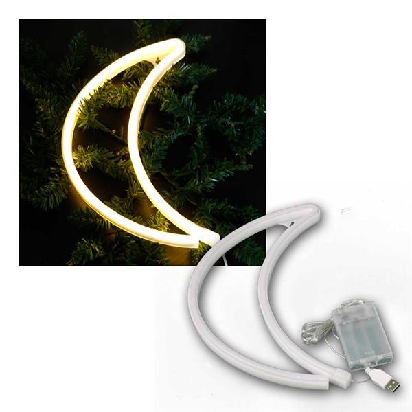 LED Figur MOND 300x185mm, warmweiß 3xAA, USB 5V