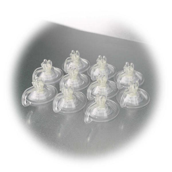 Transparenter  Kunststoffhaken mit Saugnapf im 10er Set