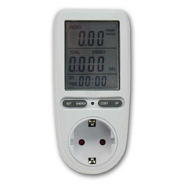 Das Energienessgerät zeigt den Stromverbrauch und die Kosten an