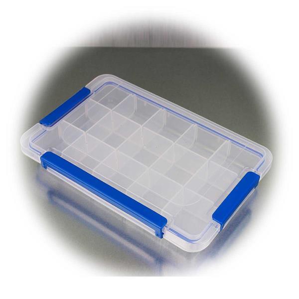 Transparente Kunststoffbox für Kleinteile wie Nägel und Schrauben