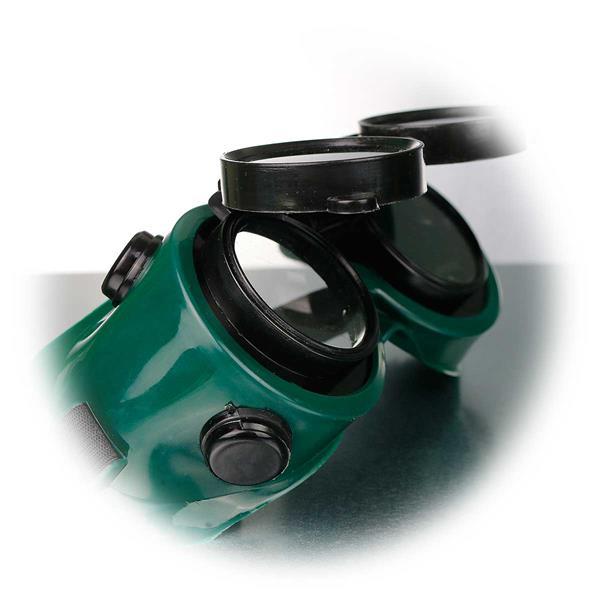 Sicherheitsbrille mit aufklappbaren Althermal-Gläsern