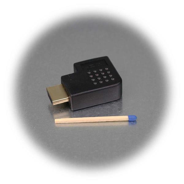 HDMI-Adapter mit angewinkelten Stecker, Buchse für HDMI-Kabel