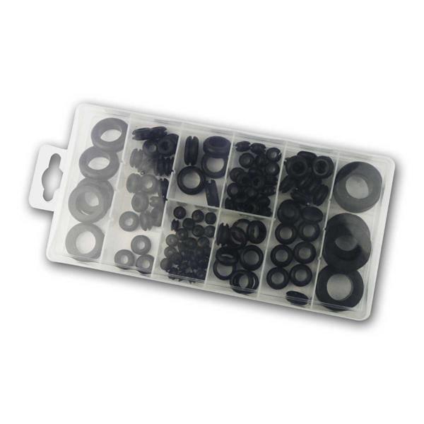 Durchgangstüllen-Sortiment, Gummi, 110-teilig