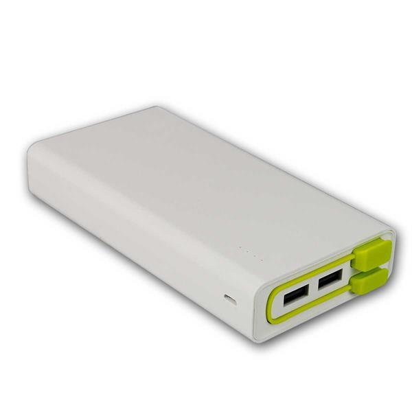 Powerbank 20.000 mAh 3x USB, mit Kabel, LiIon-Akku