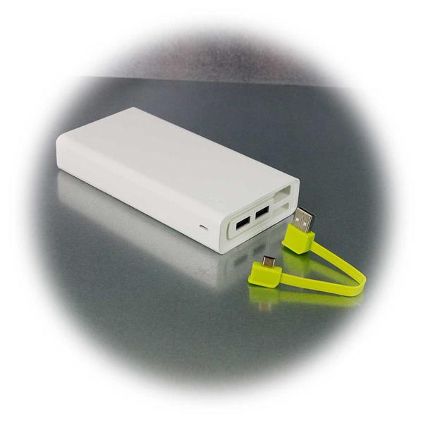 20Ah Powerbank mit integriertem USB/Micro-USB-Kabel