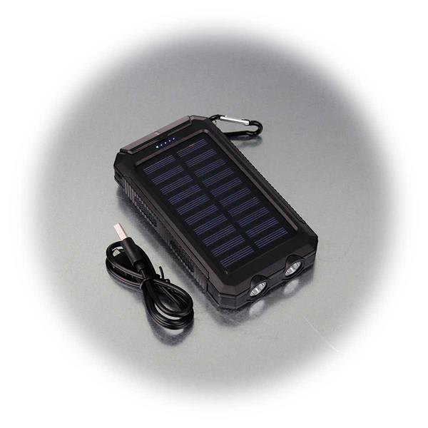 Outdoor-Powerbank mit Solarpanel,inkl. USB-Ladekabel