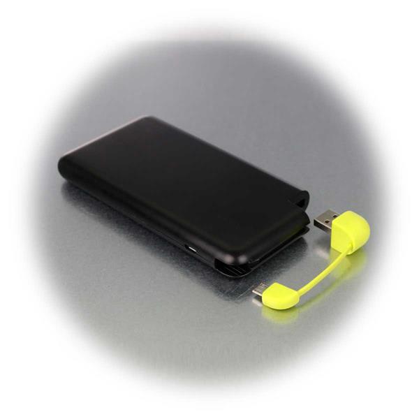 Flache 8Ah Powerbank mit integriertem USB-Kabel
