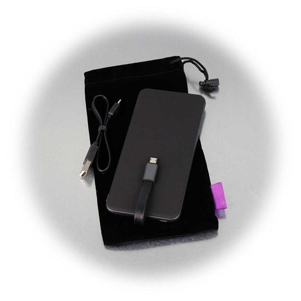 Super-Slim Powerbank inkl. Micro-USB-Kabel und Stoffbeutel