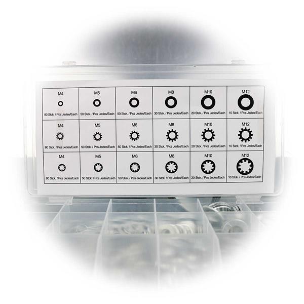 wiederverschließbare Sortimentsbox mit Inhalts-Übersichtskarte