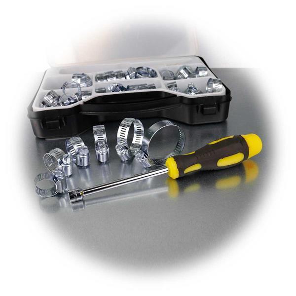 Sortiment an gängigen Schellen mit passendem Steckschlüssel