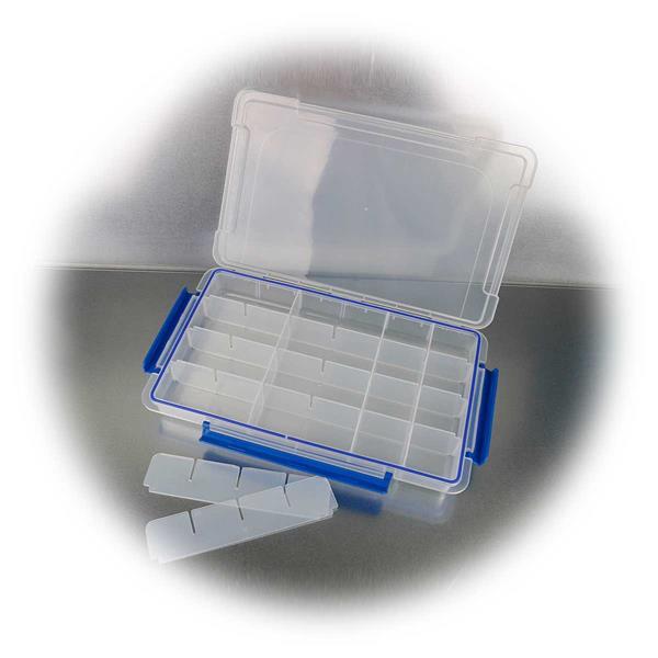 Transparente Kleinteilbox mit max. 24 variablen Fächern