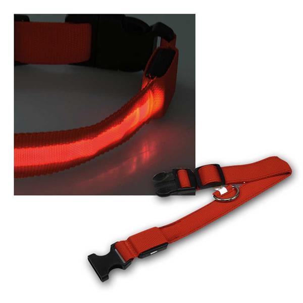 LED Hunde-Halsband 35-43cm, Größe M, rot