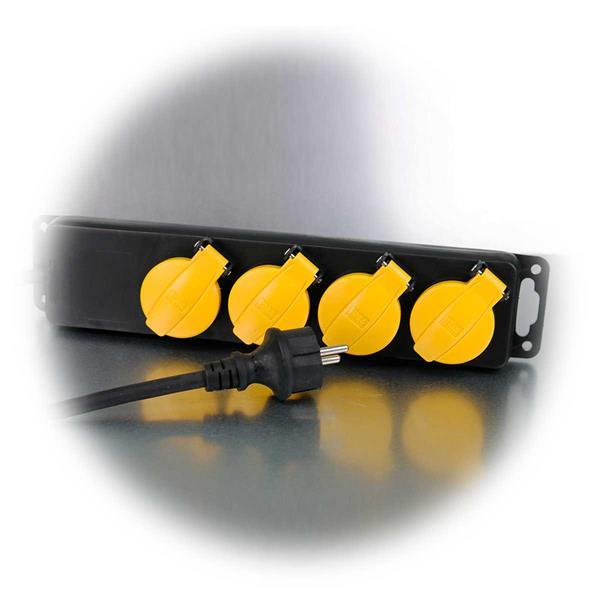 Steckdosenleiste mit Schutzkontakt-Stecker und Spritzwasserschutz