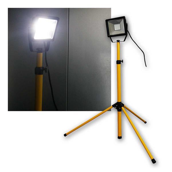 LED Baustrahler 30W, Teleskopstativ, 2500lm, 230V