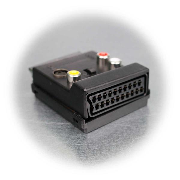 Adapter mit Cinch-Buchsen für Audio und Video, Scart-Buchse