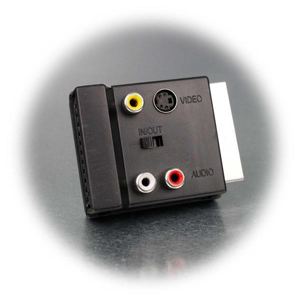 Scart-Adapterstecker mit In/Out Umschaltfunktion, Anschlussbuchse für S-VHS