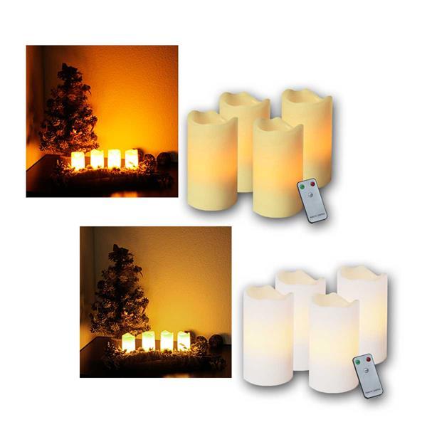 4er Set LED Advents-Kerzen, mit Fernbedienung