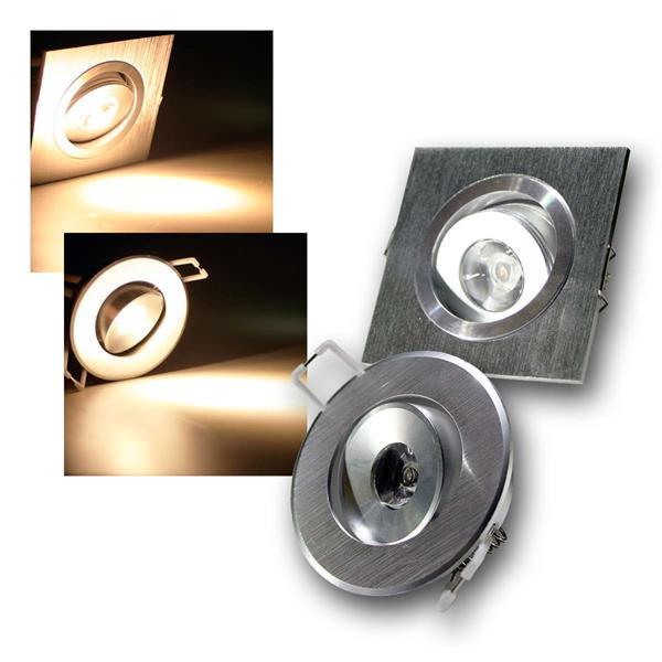 LED Einbauleuchte 1W Alu rund/eckig schwenkb 230V