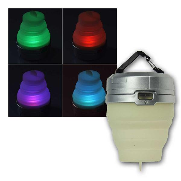 LED Ziehharmonika Camping-Leuchte RGB/Flacker
