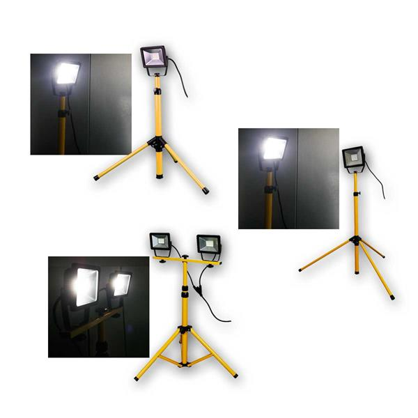 LED Baustrahler mit Teleskopstativ 20/30/2x20W